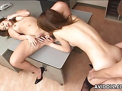 Sex on a desk with two japanese sluts tubes