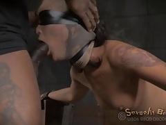 Blindfolded and bound slut fucked from behind tubes