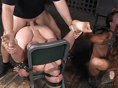 Two sex slaves in bondage used by their masters tubes
