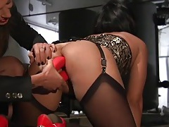 Lingerie clad sex slave used in the basement dungeon tubes
