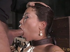 Bound asian drenched in spit as they face fuck her tubes