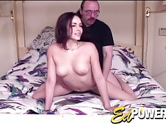 Long hair cutie likes that old guy dick tubes