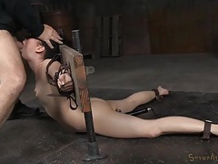 Bound slave opens up so they can fuck her mouth tubes