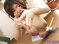 Big natural japanese tits wrapped around his cock tubes