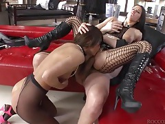 Hard sex with two sluts in pantyhose tubes