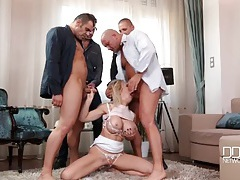Bimbo chessie kay sucks on four hard dicks tubes