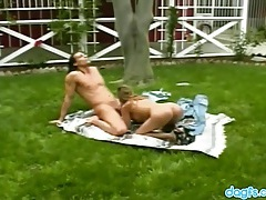 Big cock stud owns her asian asshole outdoors tubes