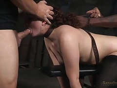 Curly hair girl in bondage used by hard dicks tubes