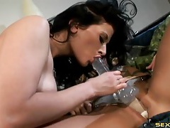 Lesbians in tight corsets have strapon sex tubes