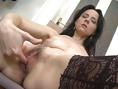 Finger fucking milf wears lace top stockings tubes