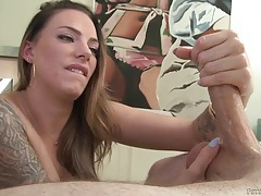Long hair juelz ventura strokes his cock sensually tubes