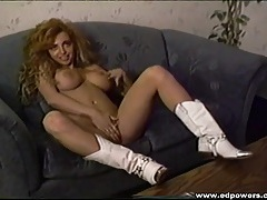 White leather cowgirl boots on a big tits vintage babe tubes