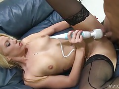 Blonde vibrates her pussy as he fucks her tubes