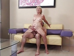 Old slut bent over on the couch for young dick tubes