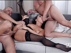 Slut in stockings gangbanged by three eager guys tubes