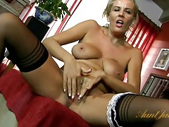 Milf maid licks her nipples and masturbates tubes