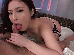 Gorgeous japanese babe in fishnets rides a dick tubes