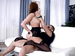Teen in lace lingerie and stockings rides a dick tubes