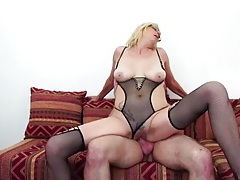Old lady fucked in her sexy fishnet lingerie tubes