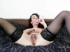 Cute older lady in lingerie shows off her cunt tubes