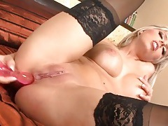 Pretty blonde gently toy fucks her asshole tubes