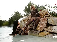 Lesbians in body stockings fuck toys in the pool tubes