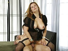 Cute curvy girl in lingerie loves to fuck tubes