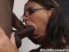 Teacher convinces the black student to fuck her cunt tubes