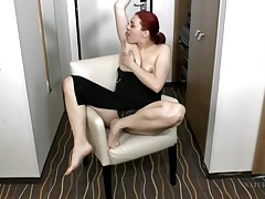 Stripping amateur redhead has a lovely bush tubes