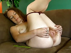 Hairy all over girl combs her armpit hair tubes