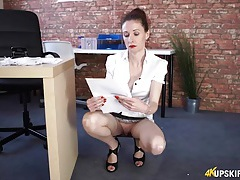 Secretary cleans up and flashes her pussy tubes