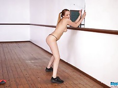 Dancing british babe takes all her clothes off tubes
