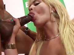 Blonde rides his bbc and sucks it clean tubes