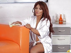 Milf in an amazing satin robe cleans house tubes