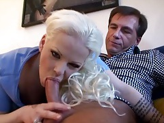 Bleach blonde slut sucks and sits on his dick tubes
