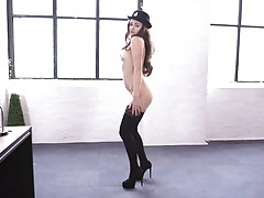 Sexy constable strips to her stockings tubes