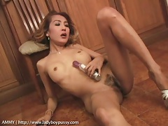 Ladyboy pumps a toy into her post op snatch tubes