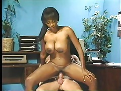 Retro interracial fuck of his busty black secretary tubes