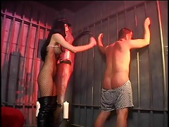 Mistress in boots flogs the ass of her sub slave tubes