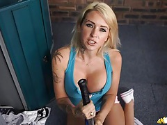 Huge tits cleavage on a sporty blonde babe tubes