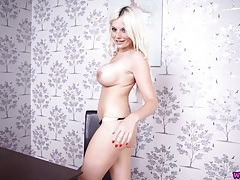 Fake tits hottie talks dirty as she strips naked tubes