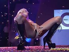 Facesitting busty babe on public stage tubes