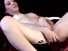 Beauty alone in bed to cum with her toy tubes