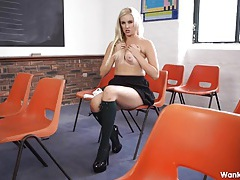 Topless schoolgirl in her shiny high heels tubes