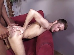 Black cock pounds a white boy in the ass tubes