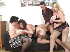 Fat milfs take turns getting fucked doggystyle tubes