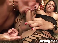 Leggy tranny fucks hard dick into his ass tubes