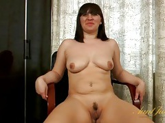 Curvy amateur milf strips during an interview tubes