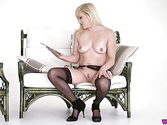 Blonde reads a dirty story in sexy lingerie tubes