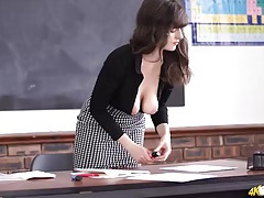 Bent over teacher teases her gorgeous breasts tubes